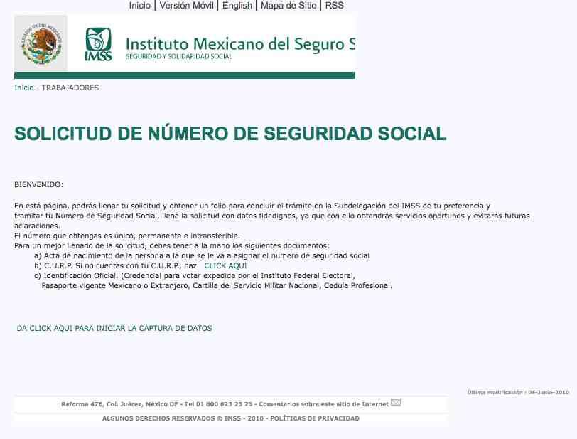 Obtener mi numero de Seguridad Social NSS