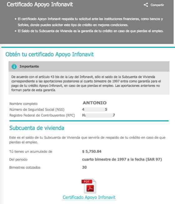 Certificado Apoyo Infonavit