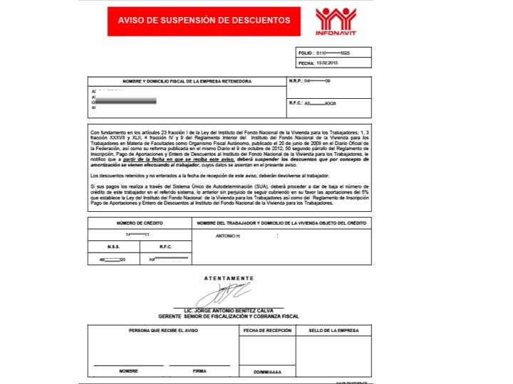 Aviso de Suspension y Retencion de Infonavit 1