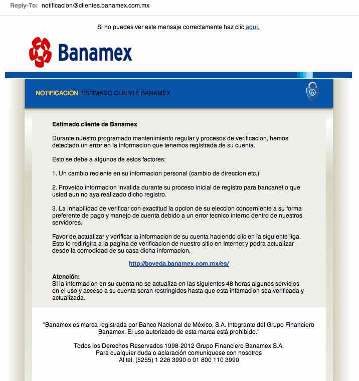 intento de fraude con banamex