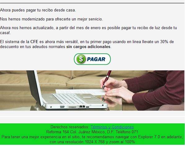 CFE fraude por Internet