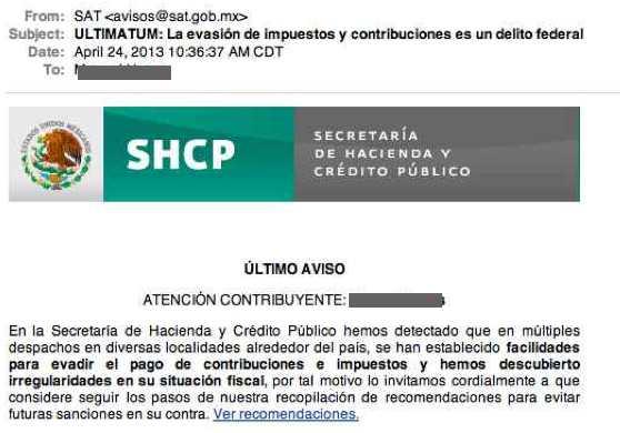 Correo SHCP SAT fraude