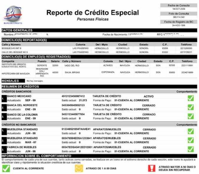 Ejemplo Reporte de Buro de Credito