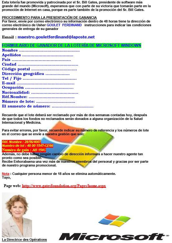 Loteria Bill Gates fraude