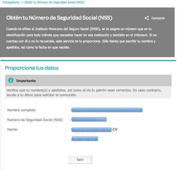 obtener NUMERO DE SEGURO SOCIAL IMSS