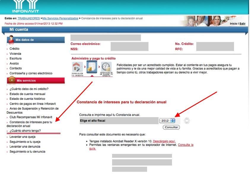 Solicitar constancia de impuestos 2012