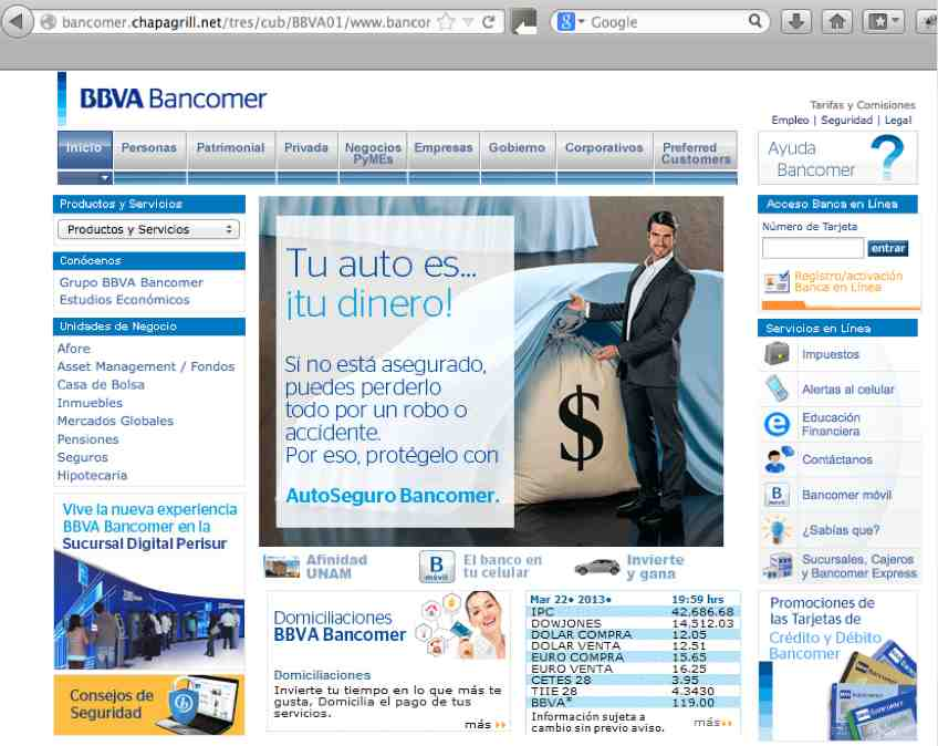 Pagina falsa BBVA Bancomer