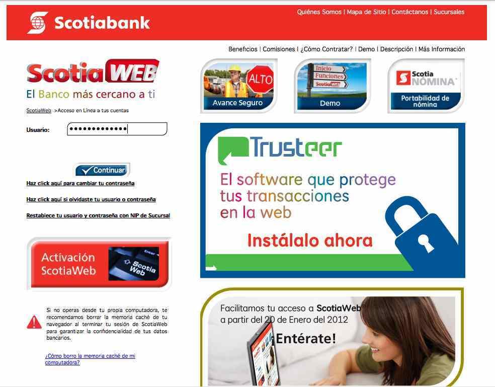 Fraude con scotiabank por mail for Pagina del banco exterior