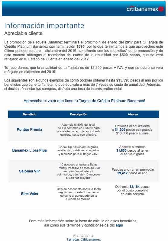 Cancelan paquete Banamex