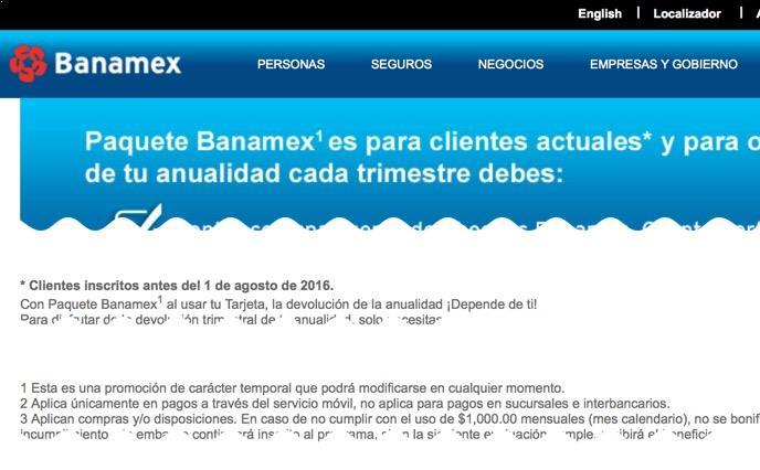 Desaparece el paquete Banamex