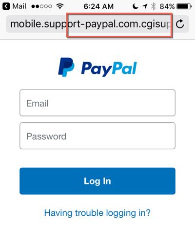 PayPal login falso