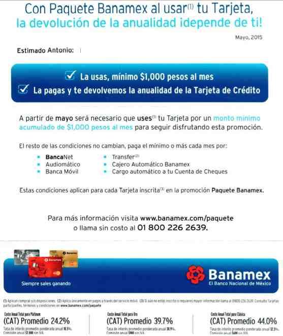Cambios en el paquete banamex 2015 for Banco santander mas cercano a mi ubicacion