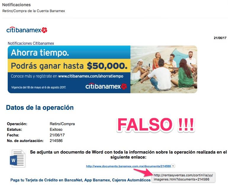 correo falso de banamex