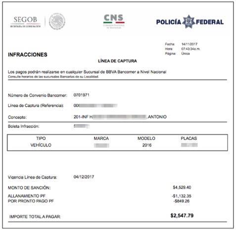 multas federales por exceso de velocidad
