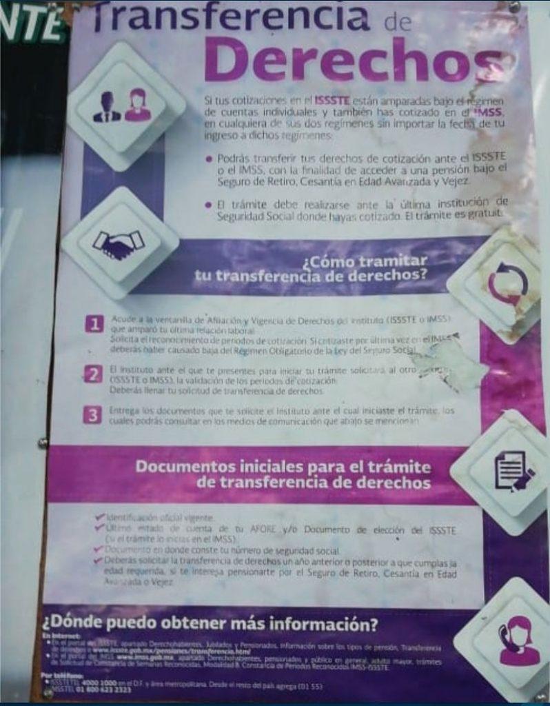 Transferencia de Derechos entre IMSS y el ISSSTE